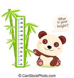 šikovný, graf, děťátko, panda, vrchol, bambus