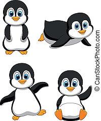 šikovný, karikatura, tučňák
