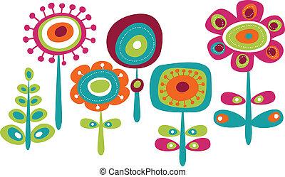 šikovný, květiny, barvitý