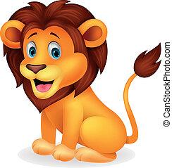 šikovný, lev, karikatura