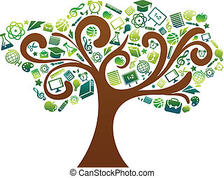 škola, ikona, strom, -, obránce, školství