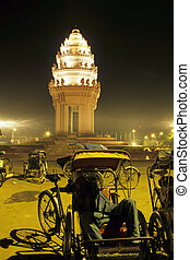 šofér, kambodža, tuk-tuk, penh, monument-, phnom
