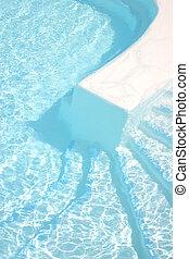 štafle, kaluž, plavání
