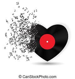 Štastné valentýnky, denní karty se srdcem, hudbami. Vektorová ilustrace