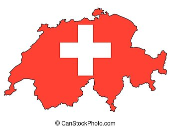švýcarsko, -, celostátní mapovat, nárys, state flag