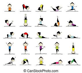 Žena cvičí jógu, 25 póz pro váš návrh