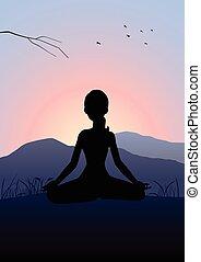 Žena medituje na hoře