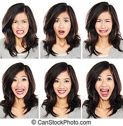 Žena s odlišným výrazem obličeje
