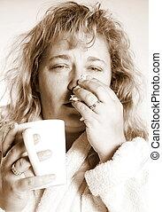 Žena s rýmou