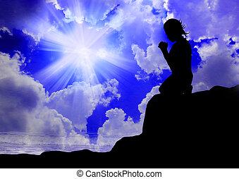 Žena se modlící k Bohu