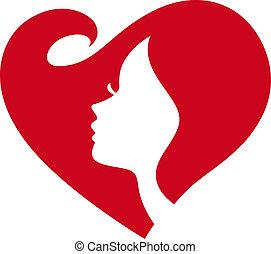 Žena silueta, červené srdce
