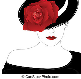Žena v klobouku s růži