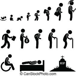 živost, dávný, lidský, student, dítě, děťátko