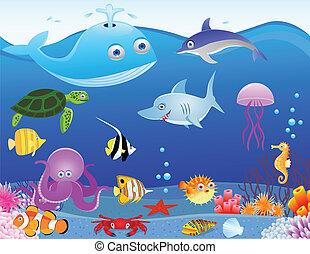 živost, moře, karikatura, grafické pozadí