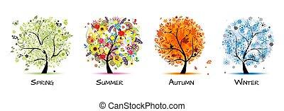 -, čtyři, umění, podzim, překrásný, strom, pramen, design, winter., odbobí, léto, tvůj