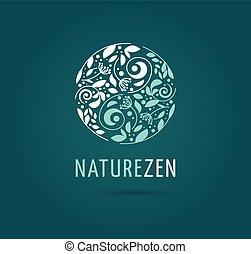 -, bylinný, vektor, lék, rozjímání, yang, emblém, zen, yin, ikona, číňan, pojem, alternativa, wellness