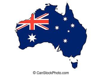 -, celostátní mapovat, nárys, state flag, austrálie