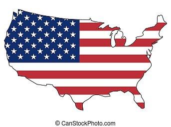-, celostátní mapovat, nárys, udat, postavení, prapor, amerika, sjednocený