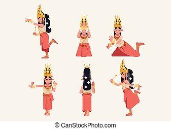 -, tradiční, tanec, flat-design, dát, khmer, šest, apsara, držení