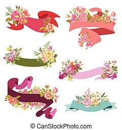 -, vektor, design, svatba, květinový, kniha k nalepování výstřižků, standarta, karta, lem