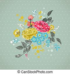 -, vektor, grafické pozadí, květinový, kniha k nalepování výstřižků, design