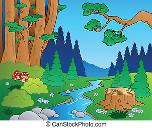 1, karikatura, krajina, les
