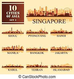 10, dát, ilustrace, vektor, asijský, velkoměsto