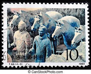 1983, dupnutí, válečníci, terakotový, -, čína, tištěný, mrskat, přibližně, 1983:, ukazuje