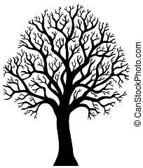 2, strom, venku, silueta, list