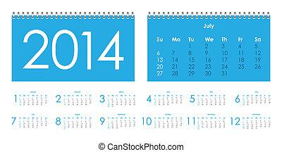 2014, kalendář, vektor