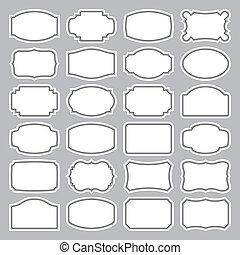24 prázdných štítků.
