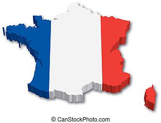3D franková mapa s vlajkou