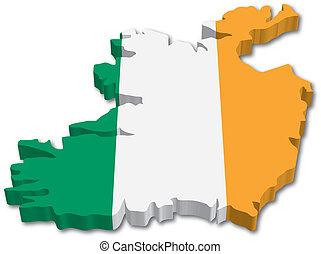 3D Ireland mapa s vlajkou