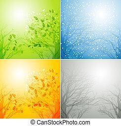 4 období, neobvyklý, strom