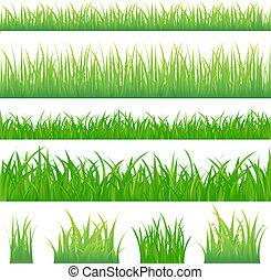 4 pozadí zelené trávy a 4 tužky trávy