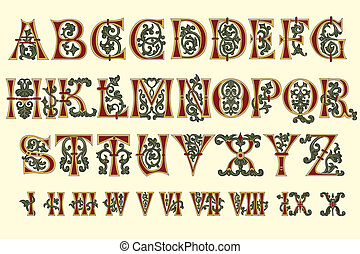 abeceda, římský, středověký, číselný