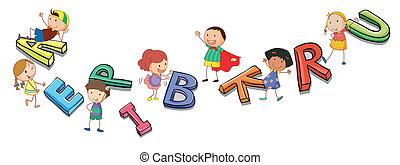 abeceda, děti, hraní