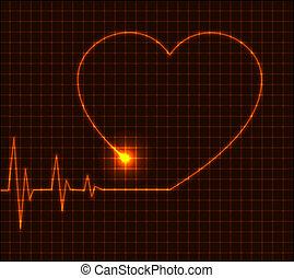Abstrakt srdeční kardiogram ilustrace - vektor