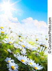 Abstraktní abstraktní, jarní květina v trávě
