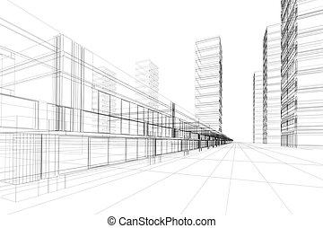 abstraktní, architektura, 3