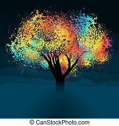 Abstraktní barevný strom. S kopírkou. Eps 8