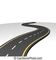 abstraktní, chod, silnice, obzor