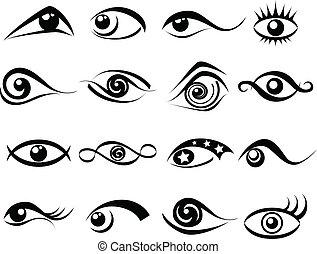 abstraktní, dát, oko, znak