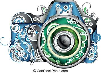 abstraktní, kamera