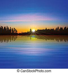 abstraktní, les, grafické pozadí, jezero