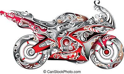 abstraktní, motocykl