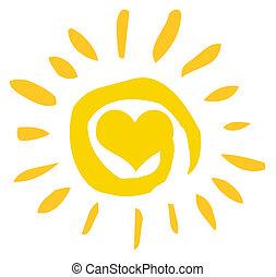 Abstraktní slunce se srdcem