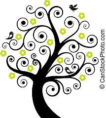 abstraktní, strom, ptáci