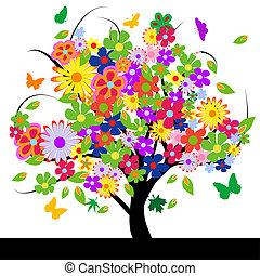 Abstraktní strom s květinami
