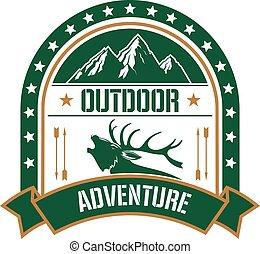 Adventure klubový odznak s jelenem a horou